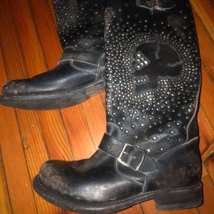 Frye Moto boot with studs and skull